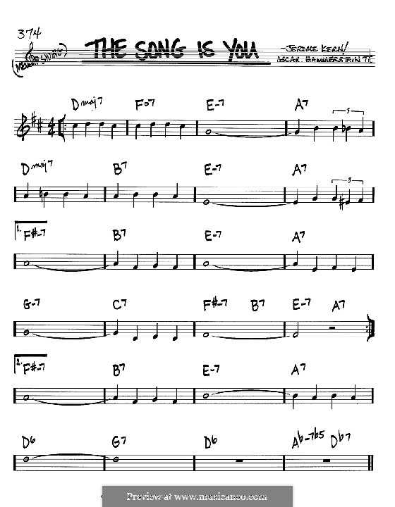 The Song is You: Melody and chords - Bb instruments by Jerome Kern