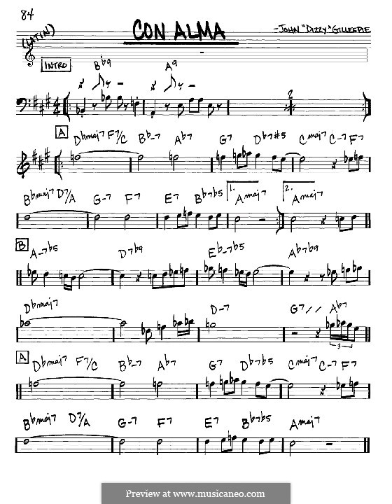 Con Alma: Melody and chords - Eb instruments by Dizzy Gillespie