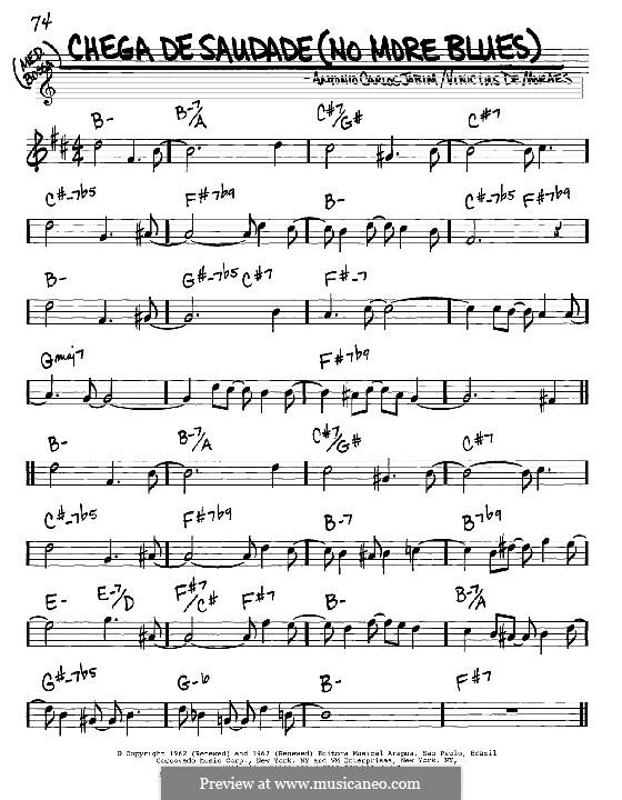 Chega de Saudade (No More Blues): Melody and chords - Eb instruments by Antonio Carlos Jobim