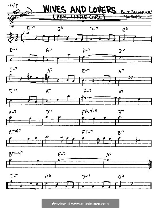 Wives and Lovers (Hey, Little Girl): Melody and chords - Eb instruments by Burt Bacharach