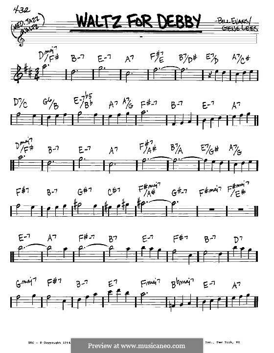 Waltz for Debby: Melody and chords – Eb instruments by Bill Evans