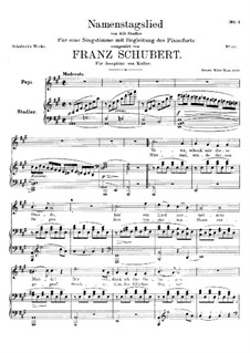 Namentagslied (Name-Day Song), D.695: A Major by Franz Schubert