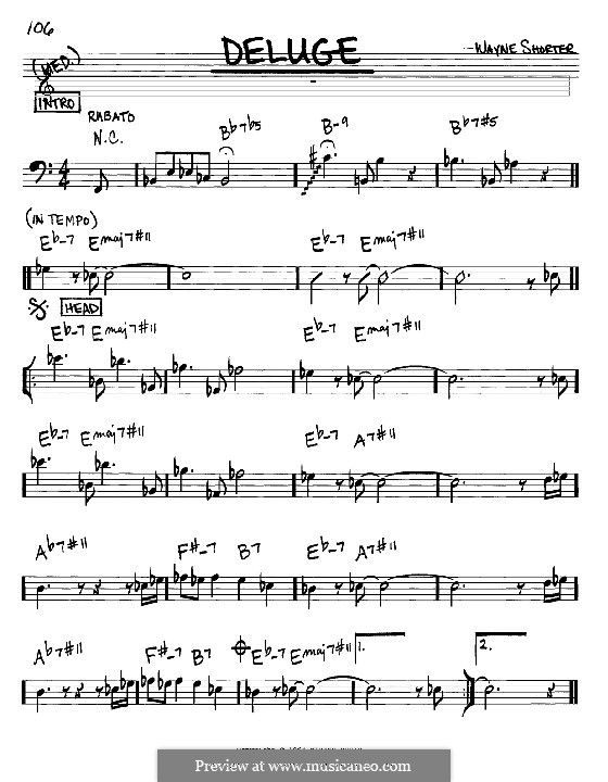 Deluge: Melody and chords - bass clef instruments by Wayne Shorter