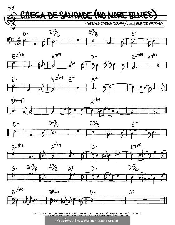 Chega de Saudade (No More Blues): Melody and chords - bass clef instruments by Antonio Carlos Jobim