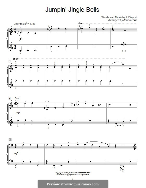 Jingle Bells, for Piano: C Major by James Lord Pierpont