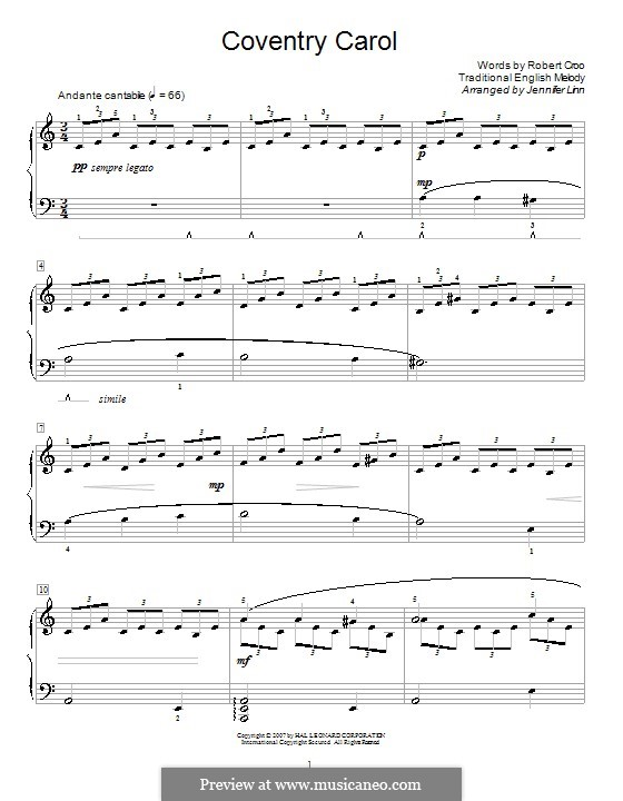 Coventry Carol: For piano (A Minor) by folklore