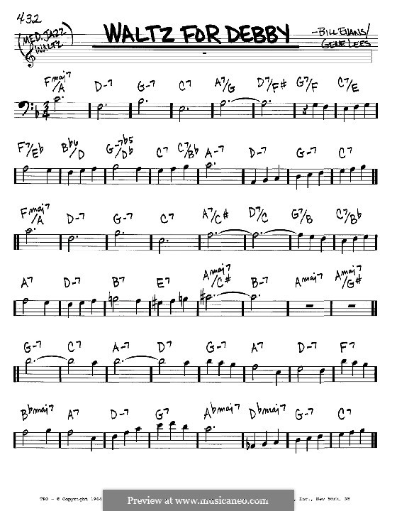 Waltz for Debby: Melody and chords – bass clef instruments by Bill Evans