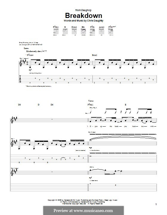 Breakdown (Daughtry): For guitar with tab by Chris Daughtry