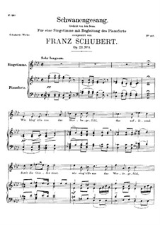 Schwanengesang (Swan Song) for Voice and Piano, D.744 Op.23 No.3: Piano-vocal score by Franz Schubert