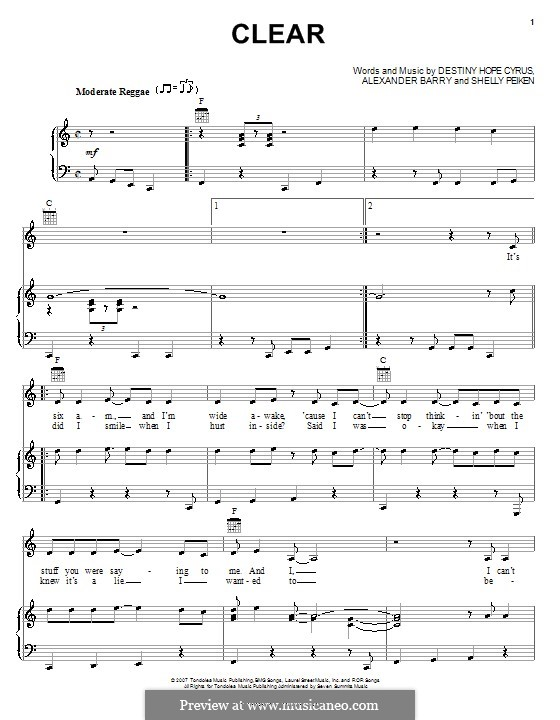 Clear (Hannah Montana): For voice and piano (or guitar) by Alexander Barry, Destiny Hope Cyrus, Shelly Peiken
