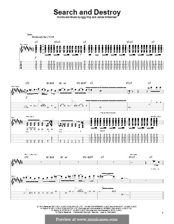 Search and Destroy: For guitar with tab (Iggy Pop) by James Williamson