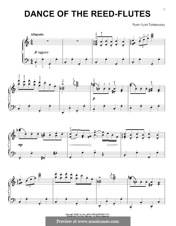 No.7 Dance of the Mirlitons: For piano (high quality sheet music) by Pyotr Tchaikovsky