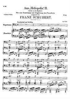 From 'Heliopolis' II, D.754: For voice and piano by Franz Schubert