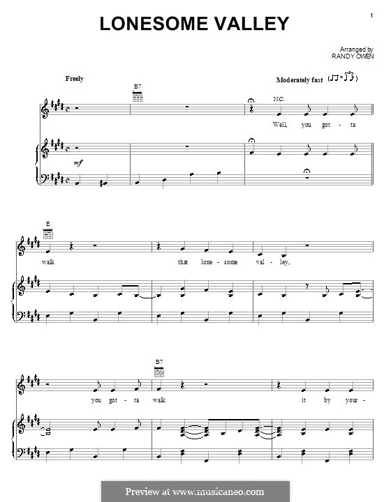 Lonesome Valley (Alabama): For voice and piano (or guitar) by Randy Owen