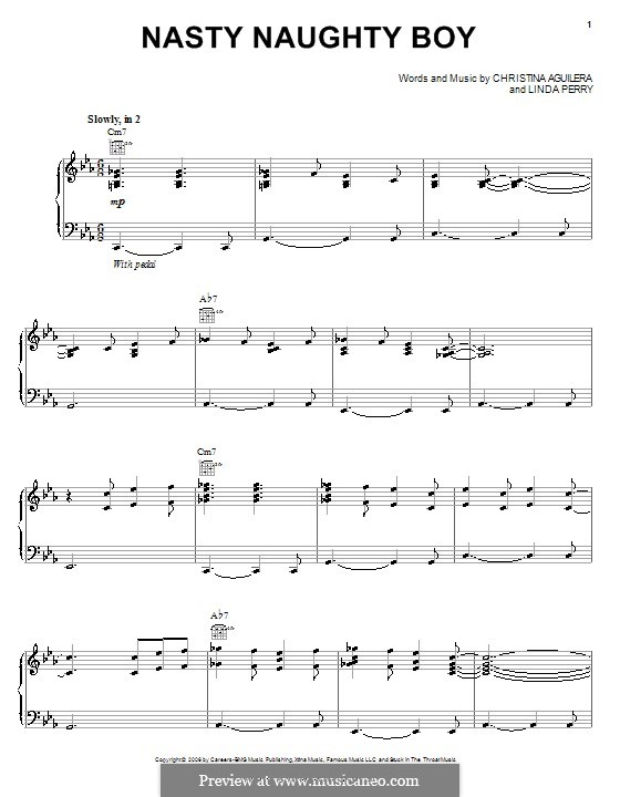 Nasty Naughty Boy (Christina Aguilera): For voice and piano (or guitar) by Linda Perry