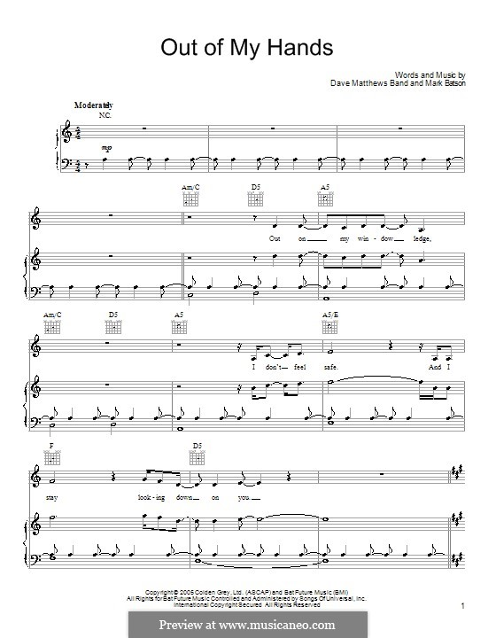 Out of My Hands (Dave Matthews Band): For voice and piano (or guitar) by Mark Batson