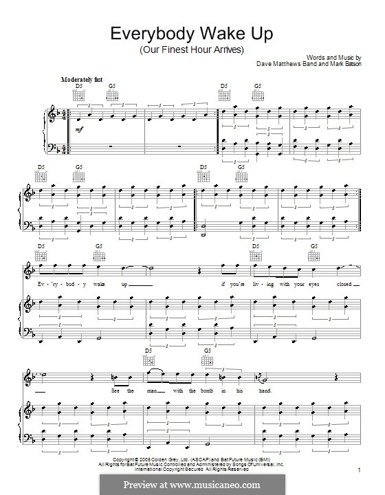 Everybody Wake Up / Our Finest Hour Arrives (Dave Matthews Band): For voice and piano or guitar by Mark Batson
