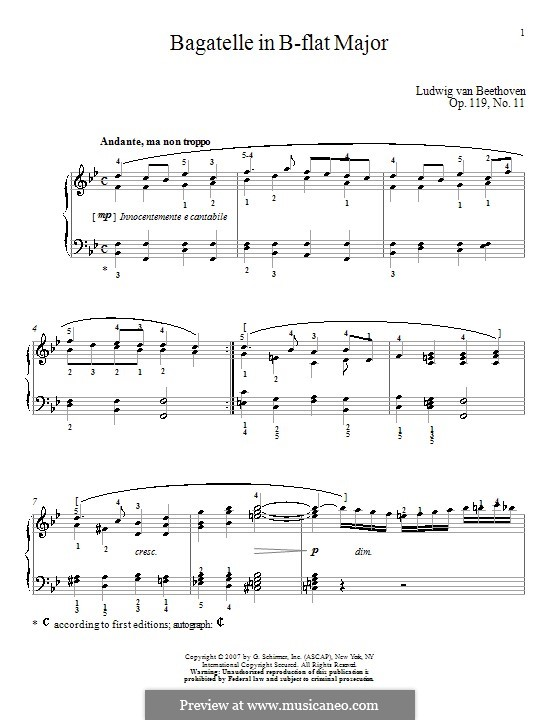 Eleven New Bagatelles for Piano, Op.119: Bagatelle No.11 by Ludwig van Beethoven