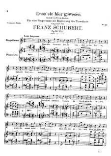 Dass sie hier gewesen, D.775 Op.59 No.2: For voice and piano by Franz Schubert