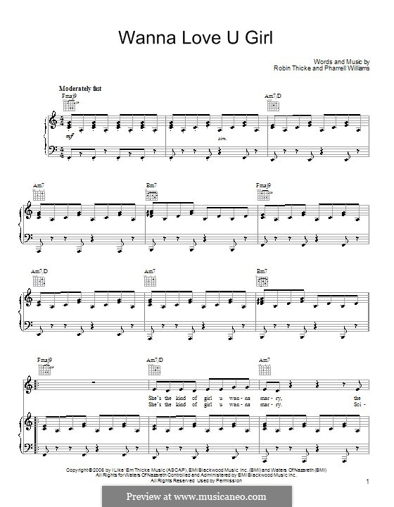 Wanna Love U Girl: For voice and piano (or guitar) by Pharrell Williams