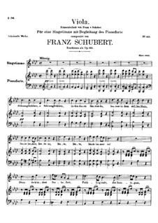 Viola (Violet), D.786 Op.123: For voice and piano by Franz Schubert