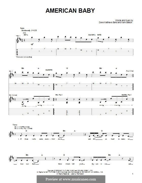 American Baby (Dave Matthews Band): For guitar with tab by Mark Batson