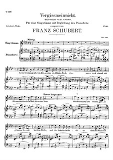 Vergissmeinnicht (Forget-Me-Not), D.792: For voice and piano by Franz Schubert
