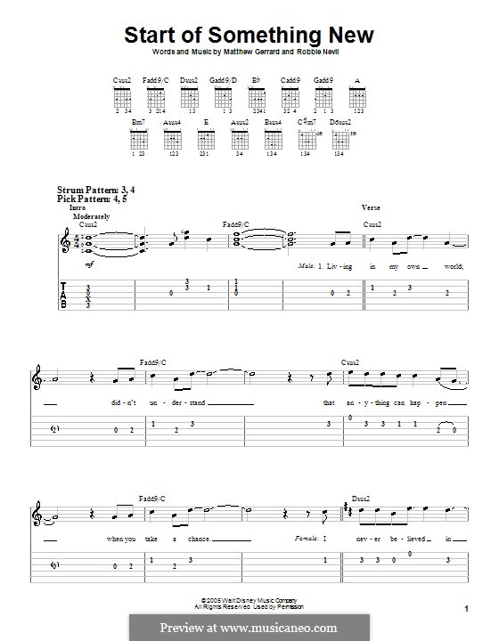 Start of Something New (from High School Musical): For guitar (very easy version) by Matthew Gerrard, Robbie Nevil
