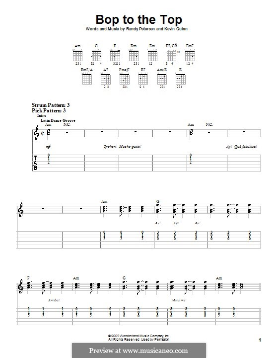 Bop to the Top (High School Musical): For guitar (very easy version) by Kevin Quinn, Randy Petersen