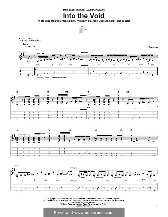 Into the Void (Black Sabbath): For guitar with tab by Geezer Butler, Ozzy Osbourne, Tony Iommi, Bill Ward