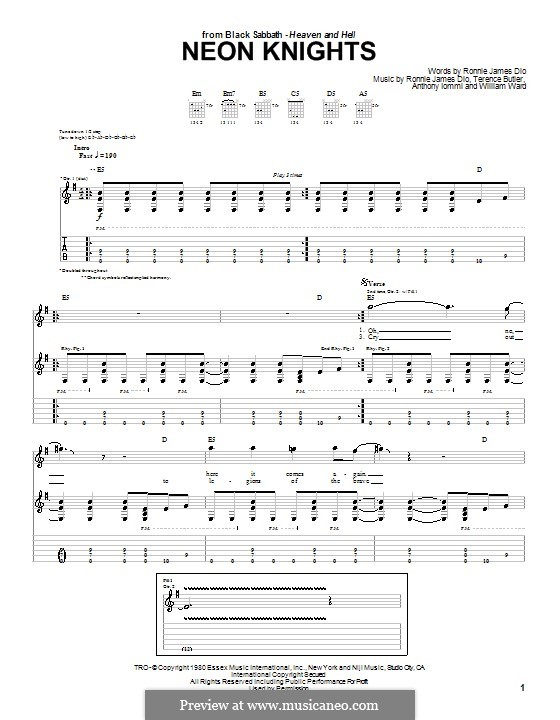 Neon Knights (Black Sabbath): For guitar with tab by Geezer Butler, Ronnie James Dio, Tony Iommi, Bill Ward