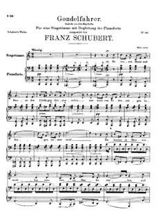 Gondelfahrer (The Gondolier), D.808: C Major by Franz Schubert