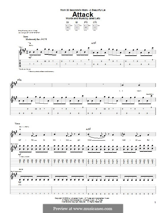 Attack (30 Seconds to Mars): For guitar with tab by Jared Leto