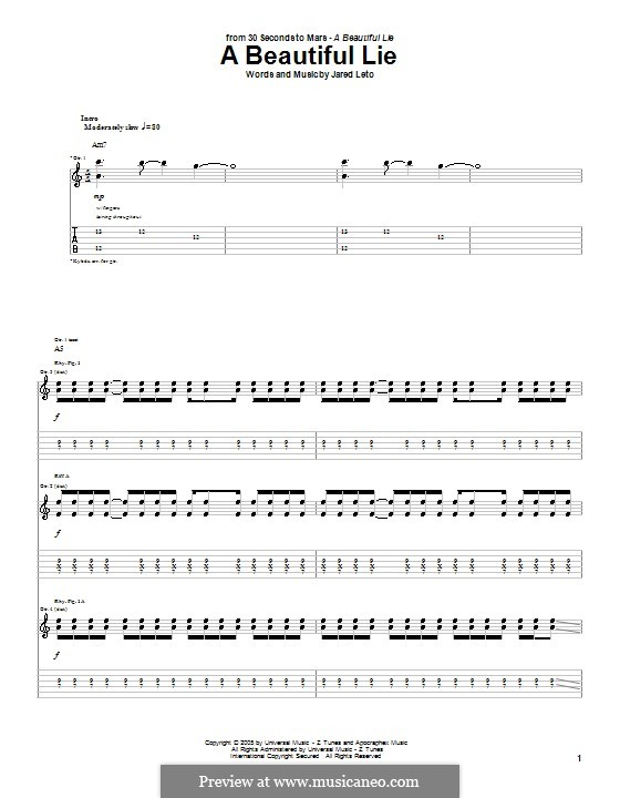 A Beautiful Lie (30 Seconds to Mars): For guitar with tab by Jared Leto