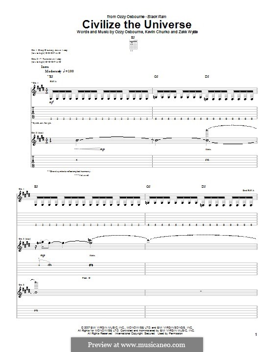 Civilize the Universe (Ozzy Osbourne): For guitar with tab by Kevin Churko, Zakk Wylde
