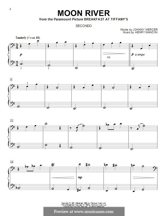 Moon River, for Piano: For four hands by Henry Mancini