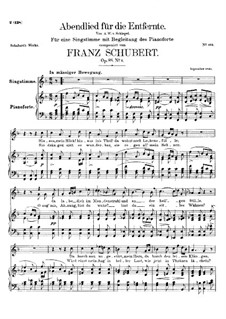 Abendlied für die Entfernte (Evening Song for the Distant Beloved), D.856 Op.88 No.1: For voice and piano by Franz Schubert