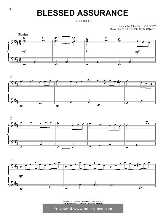 Blessed Assurance: For piano duet by Phoebe Palmer Knapp