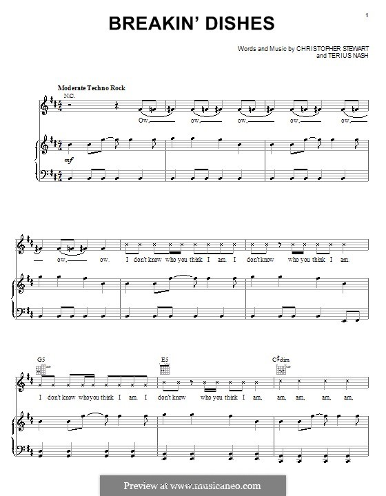 Breakin' Dishes (Rihanna): For voice and piano (or guitar) by Tricky Stewart , Terius Nash