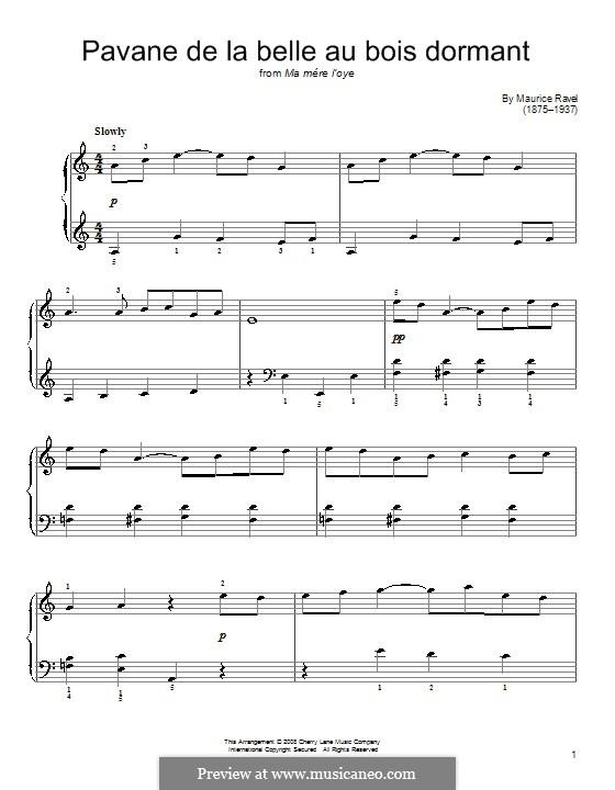 Pavane pour une infante défunte (Pavane for a Dead Princess), M.19: For easy piano by Maurice Ravel