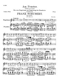 Am Fenster (At the Window), D.878 Op.105 No.3: For voice and piano by Franz Schubert