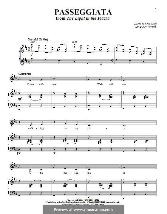 Passeggiata: For voice and piano (or guitar) by Adam Guettel