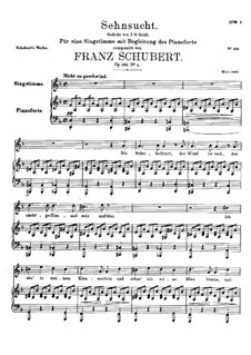 Sehnsucht (Longing), D.879 Op.105 No.4: For voice and piano (d minor) by Franz Schubert