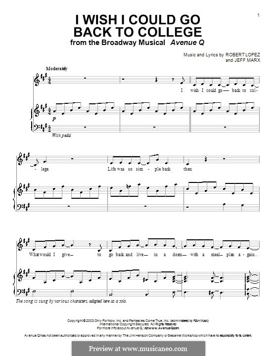 I Wish I Could Go Back To College (Avenue Q): For voice and piano (or guitar) by Jeff Marx, Robert Lopez