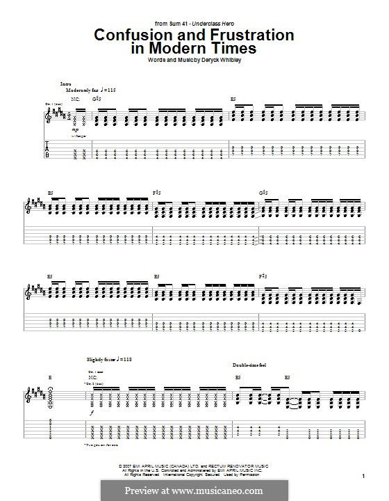 Confusion and Frustration in Modern Times (Sum 41): For guitar with tab by Deryck Whibley
