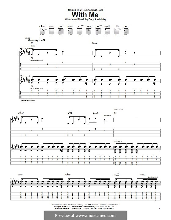 With Me (Sum 41): For guitar with tab by Deryck Whibley