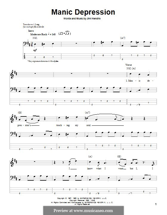 Manic Depression: For bass guitar with tab by Jimi Hendrix