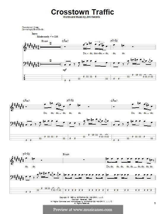Crosstown Traffic: For bass guitar with tab by Jimi Hendrix