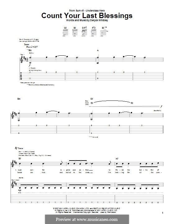 Count Your Last Blessings (Sum 41): For guitar with tab by Deryck Whibley