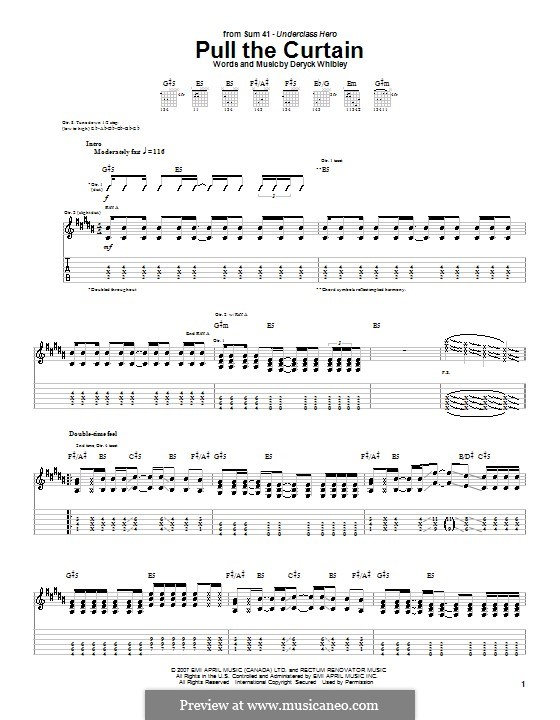 Pull the Curtain (Sum 41): For guitar with tab by Deryck Whibley